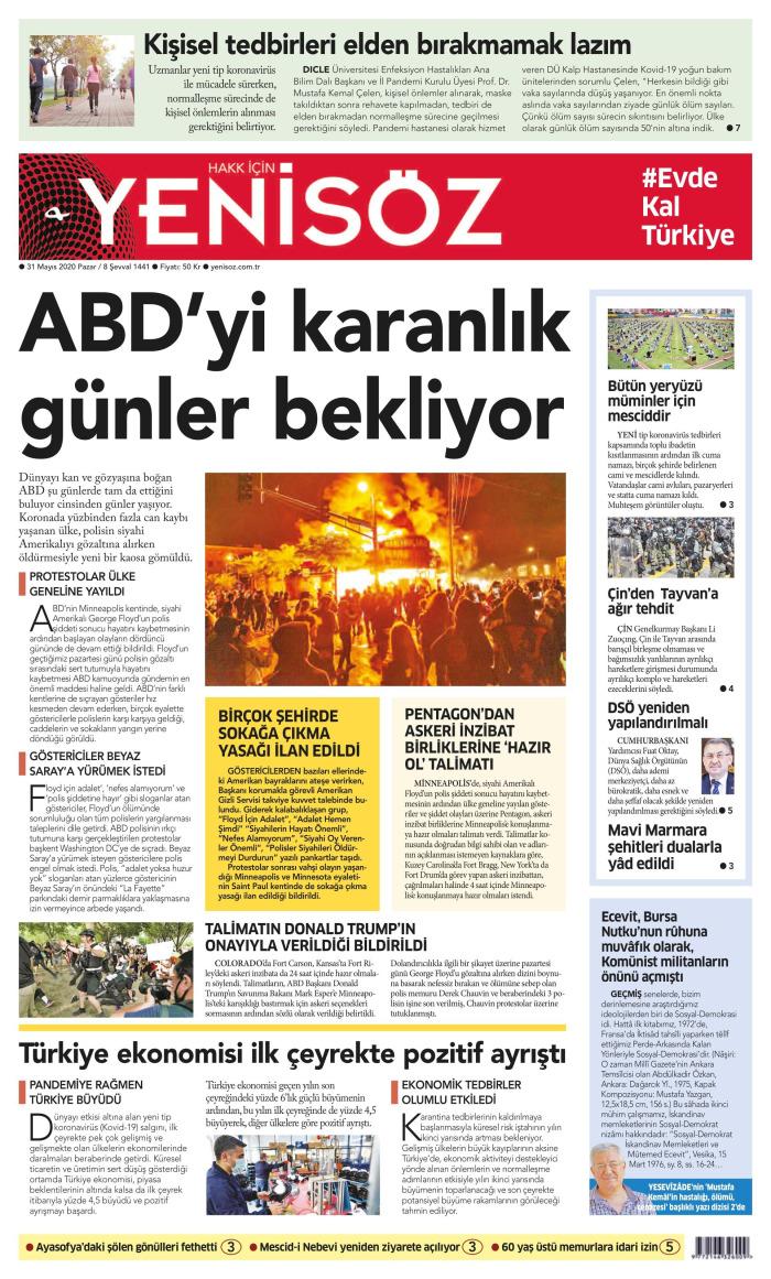 YENİ SÖZ Gazetesi 31 Mayıs 2020, Pazar Günü Manşeti