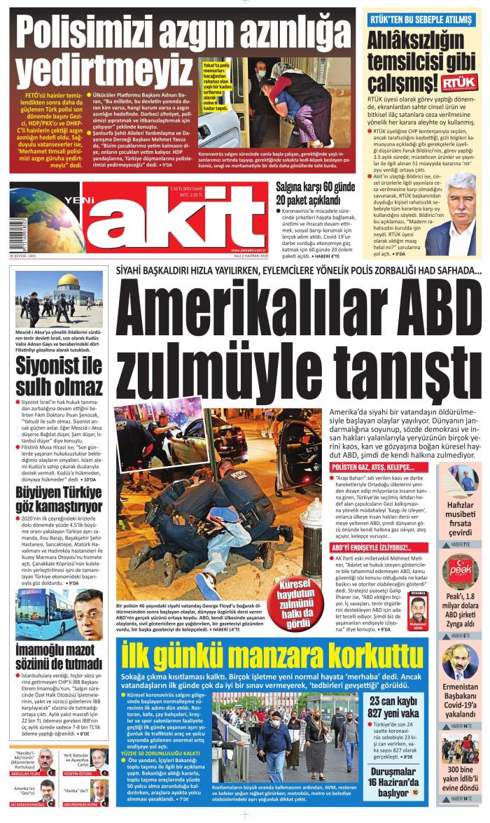 YENİ AKİT Gazetesi 2 Haziran 2020, Salı Günü Manşeti