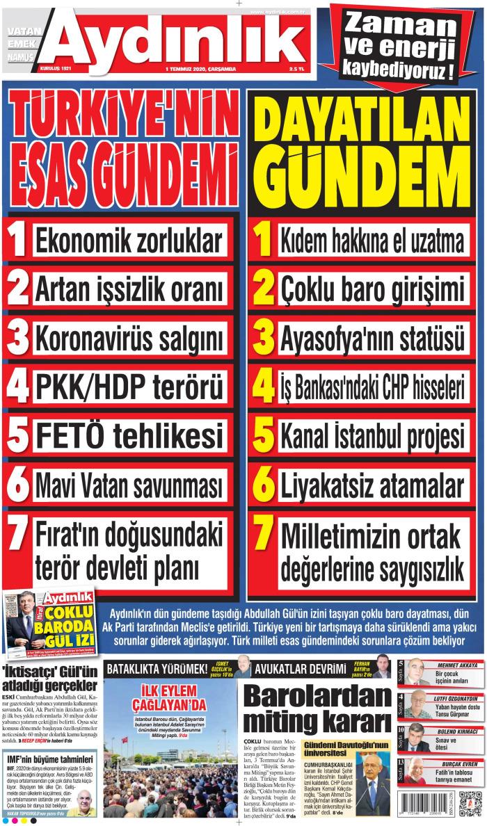 AYDINLIK Gazetesi 1 Temmuz 2020, Çarşamba Günü Manşeti