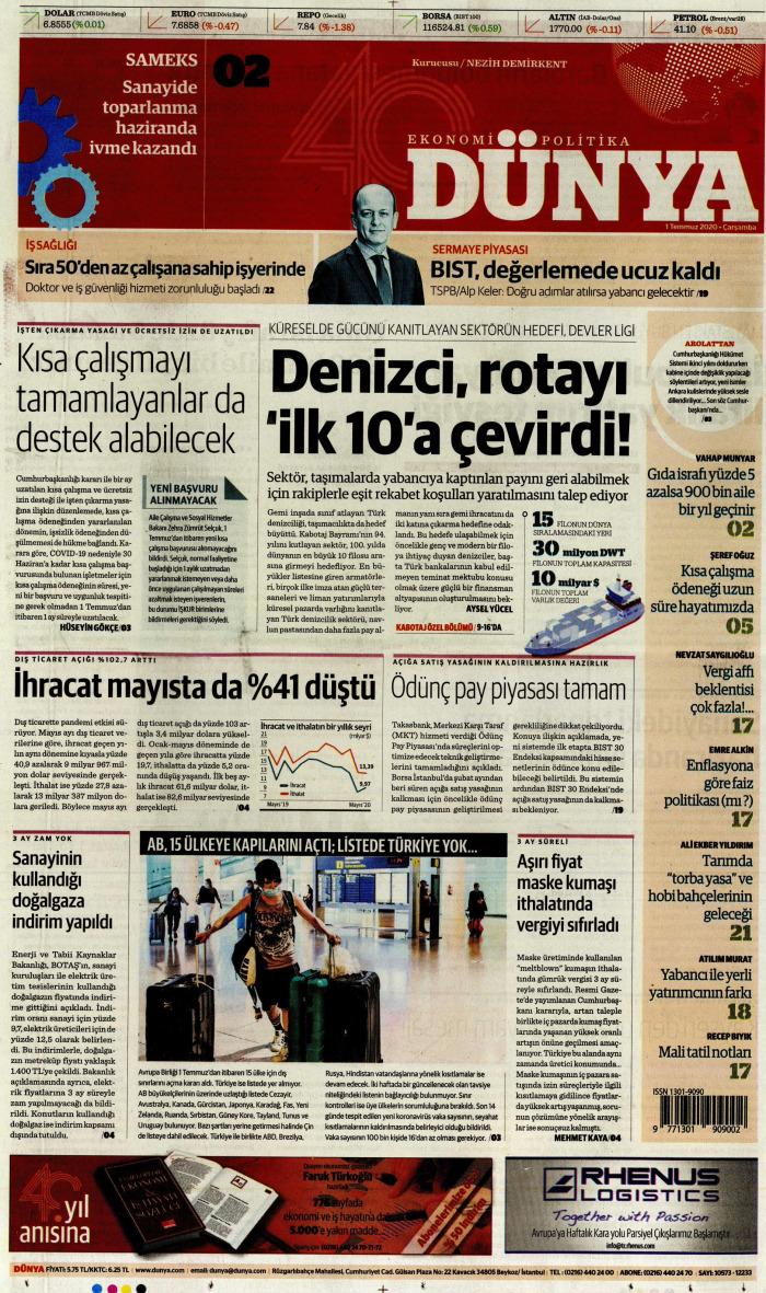 DÜNYA Gazetesi 1 Temmuz 2020, Çarşamba Günü Manşeti