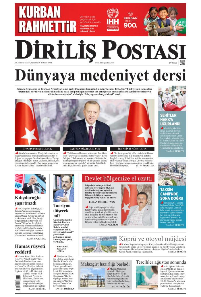 DİRİLİŞ POSTASI Gazetesi 29 Temmuz 2020, Çarşamba Günü Manşeti