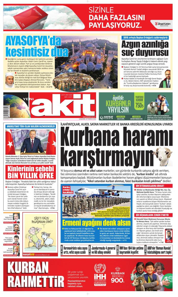 YENİ AKİT Gazetesi 29 Temmuz 2020, Çarşamba Günü Manşeti