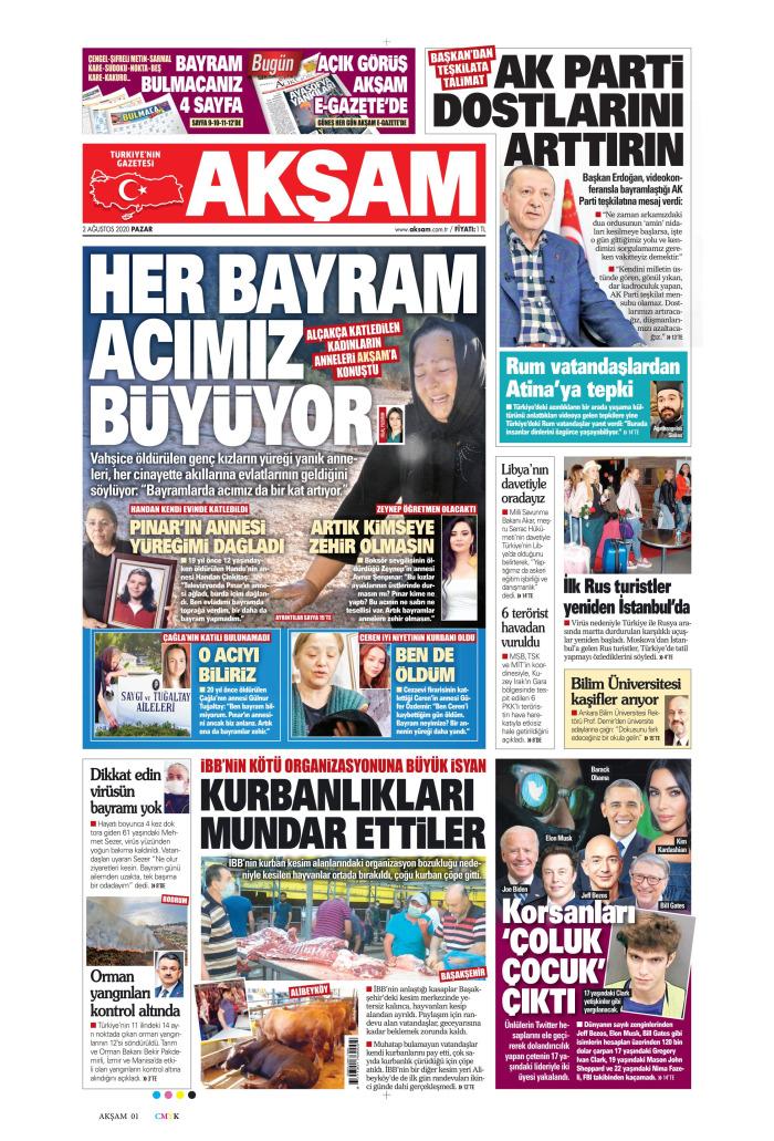 AKŞAM Gazetesi 2 Ağustos 2020, Pazar Günü Manşeti