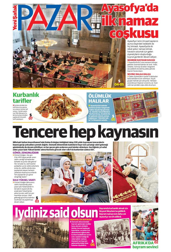 YENİ ŞAFAK PAZAR Gazetesi 2 Ağustos 2020, Pazar Günü Manşeti
