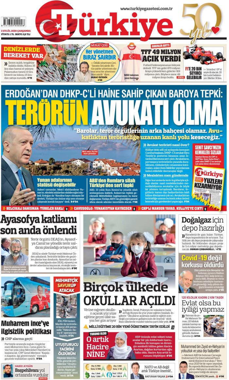 TURKEY News September 2, 2020 Wednesday Cuff