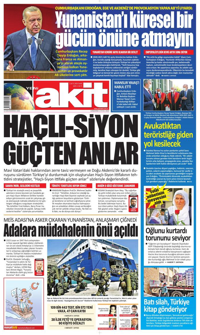YENİ AKİT Newspaper Headline on Wednesday, September 2, 2020