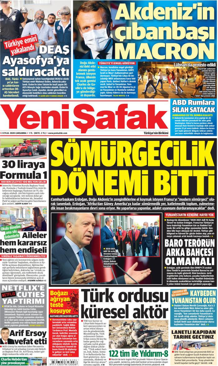 YENİ ŞAFAK Newspaper Headline on Wednesday, September 2, 2020