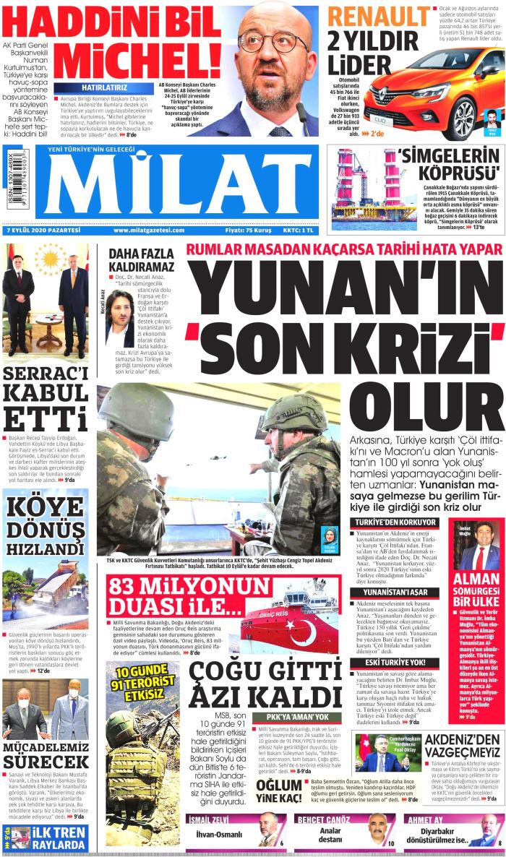 MİLAT Gazetesi 7 Eylül 2020, Pazartesi Günü Manşeti
