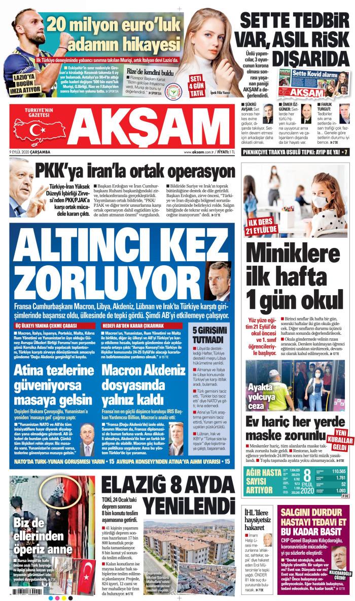 AKŞAM Gazetesi 9 Eylül 2020, Çarşamba Günü Manşeti