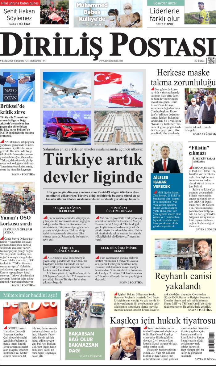 DİRİLİŞ POSTASI Gazetesi 9 Eylül 2020, Çarşamba Günü Manşeti
