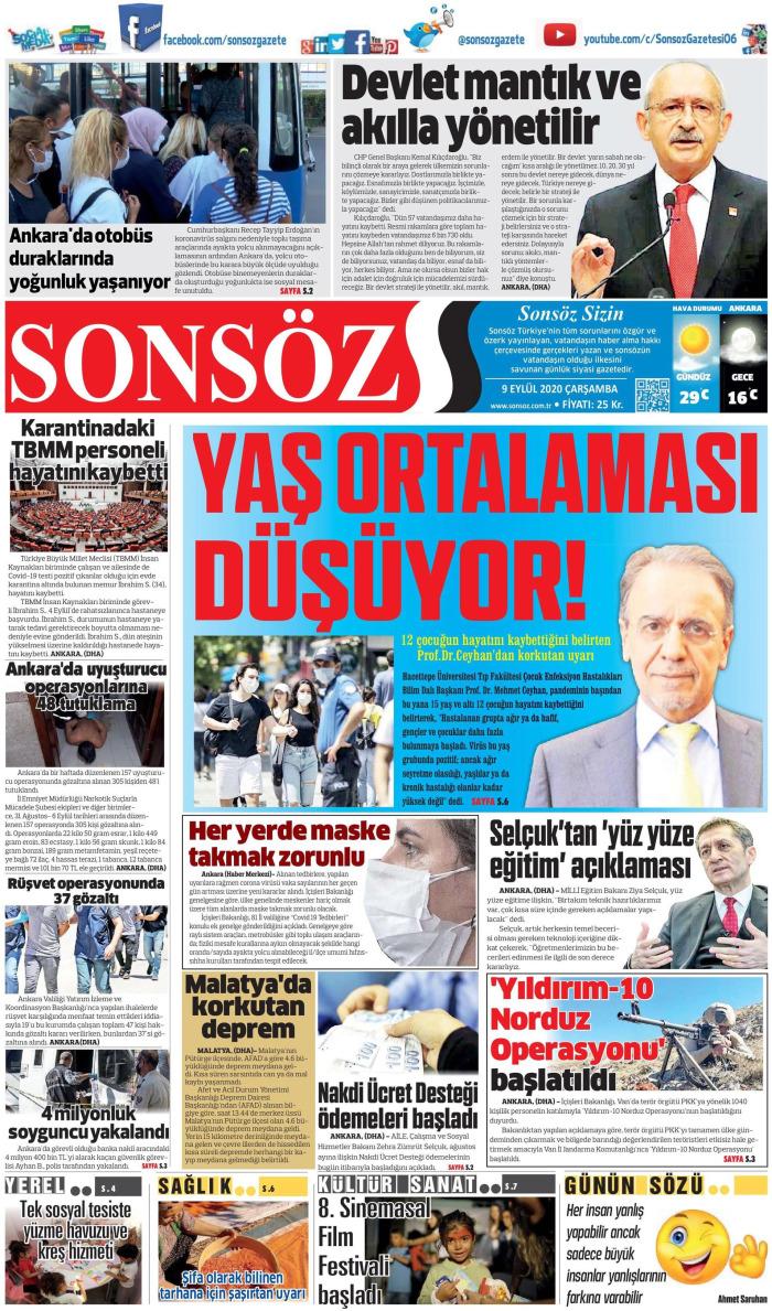 SONSÖZ Gazetesi 9 Eylül 2020, Çarşamba Günü Manşeti