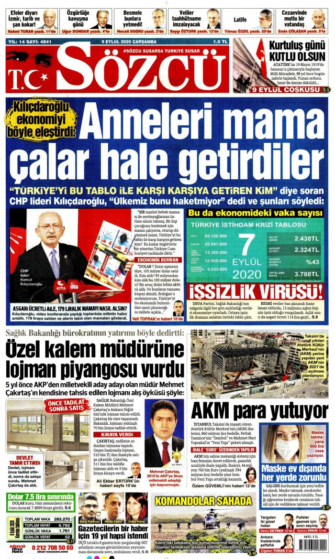 SÖZCÜ Gazetesi 9 Eylül 2020, Çarşamba Günü Manşeti