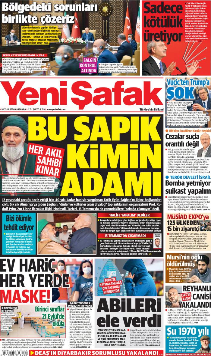 YENİ ŞAFAK Gazetesi 9 Eylül 2020, Çarşamba Günü Manşeti