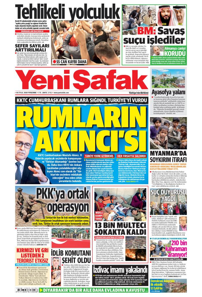 YENİ ŞAFAK Gazetesi 10 Eylül 2020, Perşembe Günü Manşeti