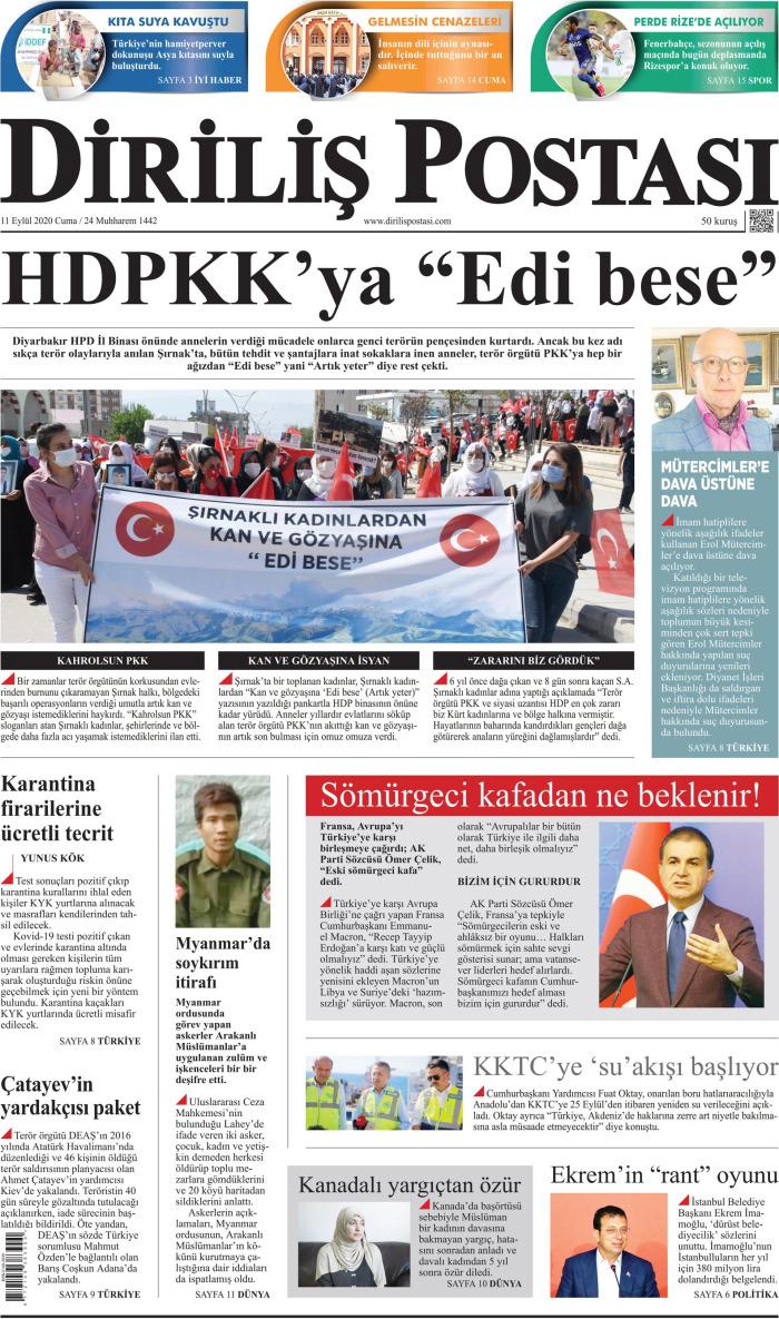 DİRİLİŞ POSTASI Gazetesi 11 Eylül 2020, Cuma Günü Manşeti