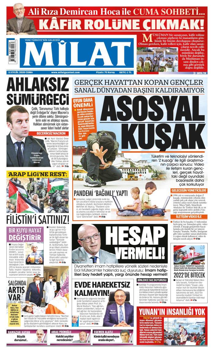 MİLAT Newspaper Headline on Friday, September 11, 2020