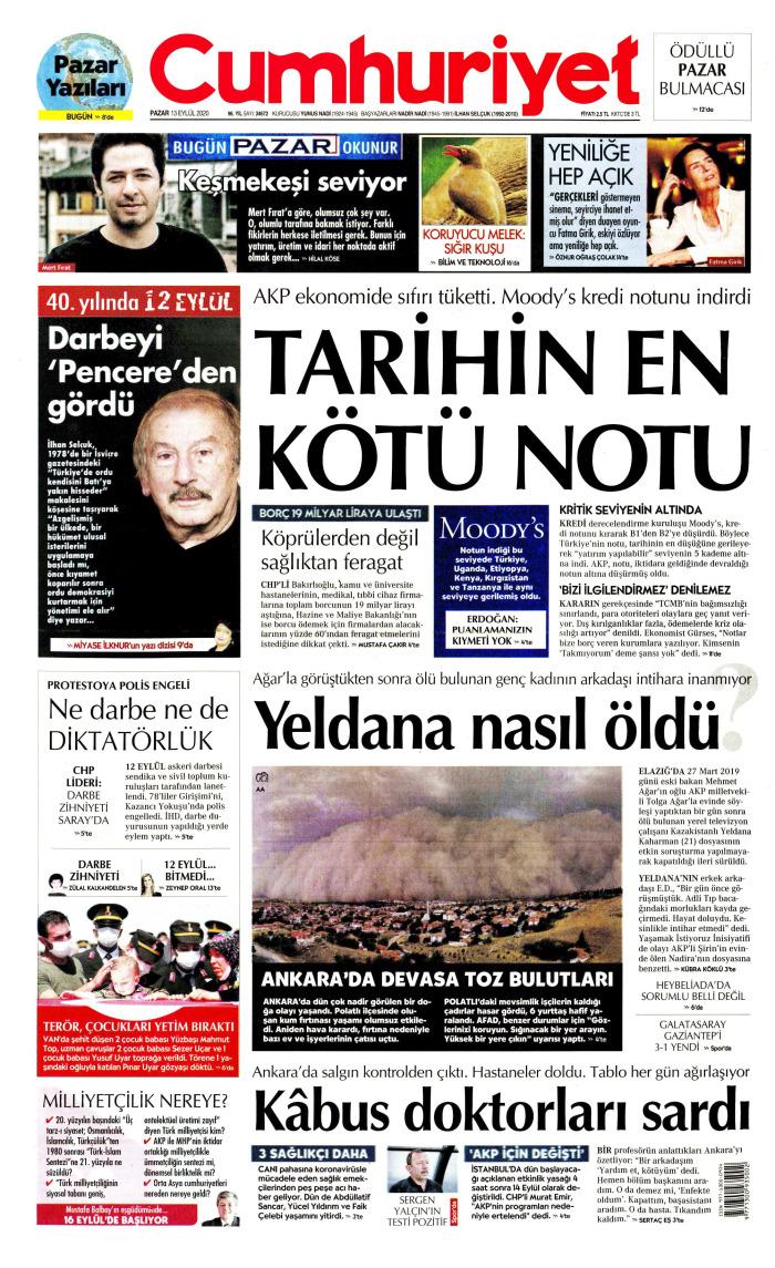 CUMHURİYET Gazetesi 13 Eylül 2020, Pazar Günü Manşeti