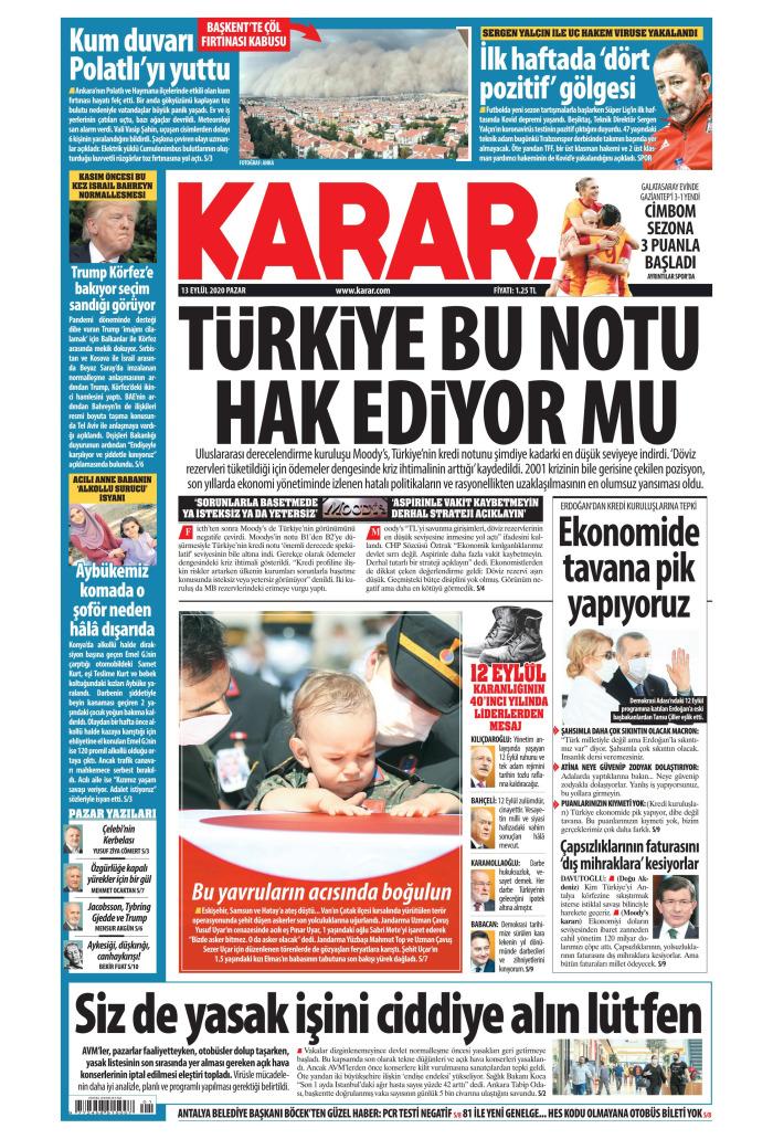 KARAR Gazetesi 13 Eylül 2020, Pazar Günü Manşeti