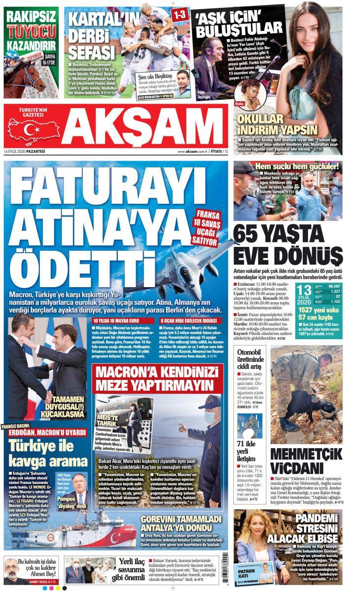 AKŞAM Gazetesi 14 Eylül 2020, Pazartesi Günü Manşeti
