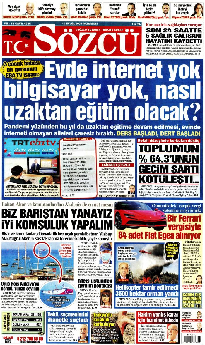 SÖZCÜ Gazetesi 14 Eylül 2020, Pazartesi Günü Manşeti