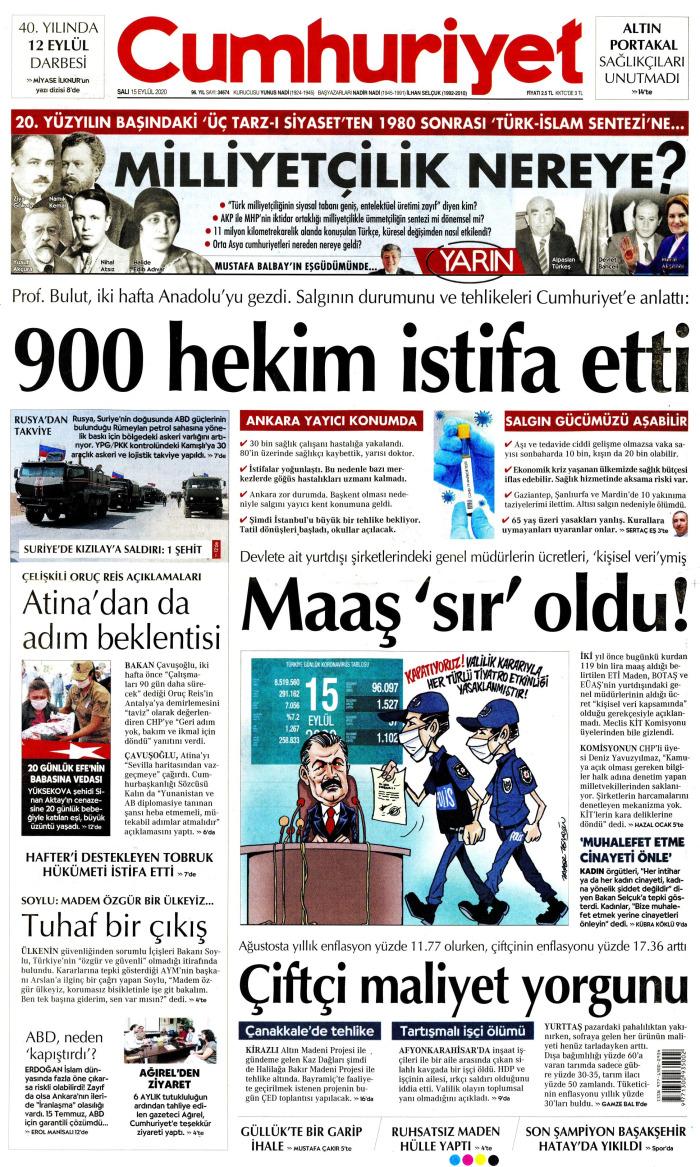 CUMHURİYET Gazetesi 15 Eylül 2020, Salı Günü Manşeti