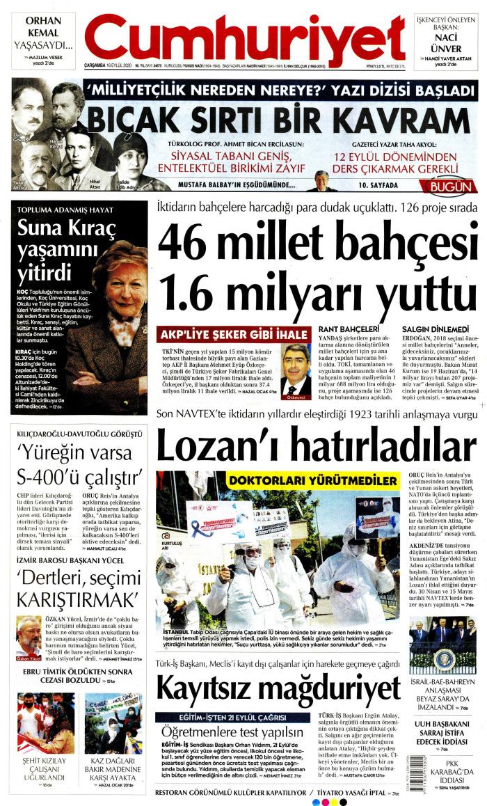 CUMHURİYET Gazetesi 16 Eylül 2020, Çarşamba Günü Manşeti