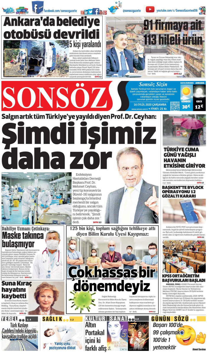 SONSÖZ Gazetesi 16 Eylül 2020, Çarşamba Günü Manşeti