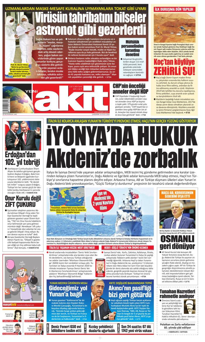 YENİ AKİT Gazetesi 16 Eylül 2020, Çarşamba Günü Manşeti