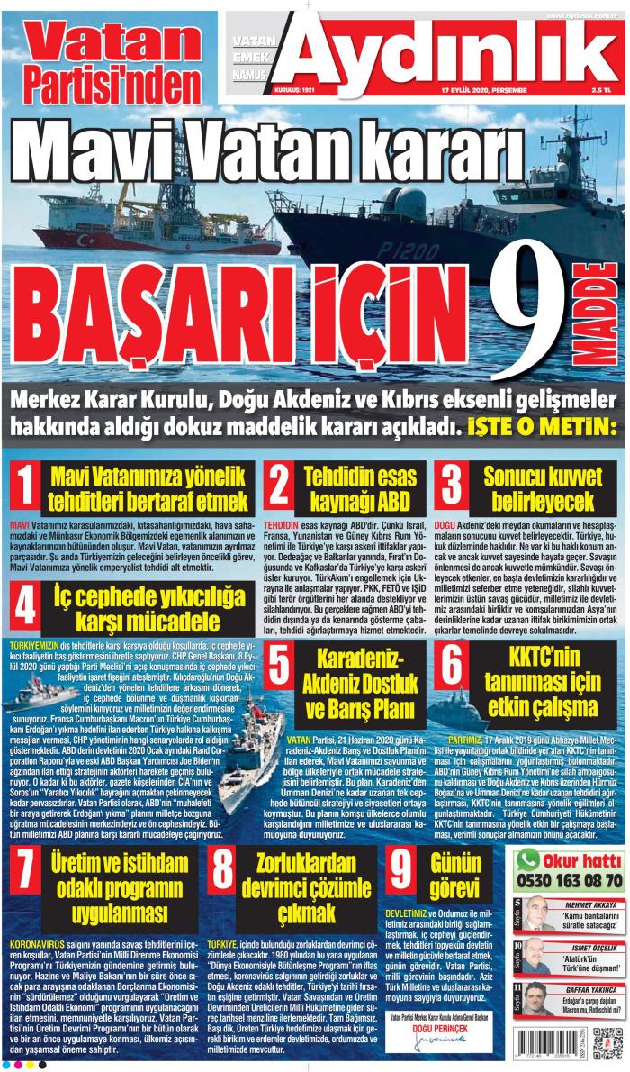 AYDINLIK Gazetesi 17 Eylül 2020, Perşembe Günü Manşeti