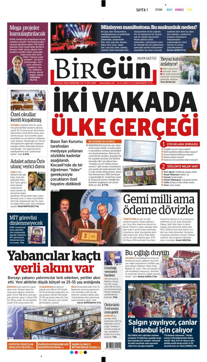 BİRGÜN Gazetesi 17 Eylül 2020, Perşembe Günü Manşeti