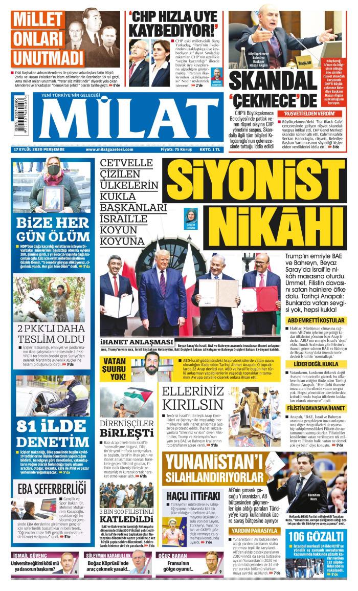 MİLAT Gazetesi 17 Eylül 2020, Perşembe Günü Manşeti
