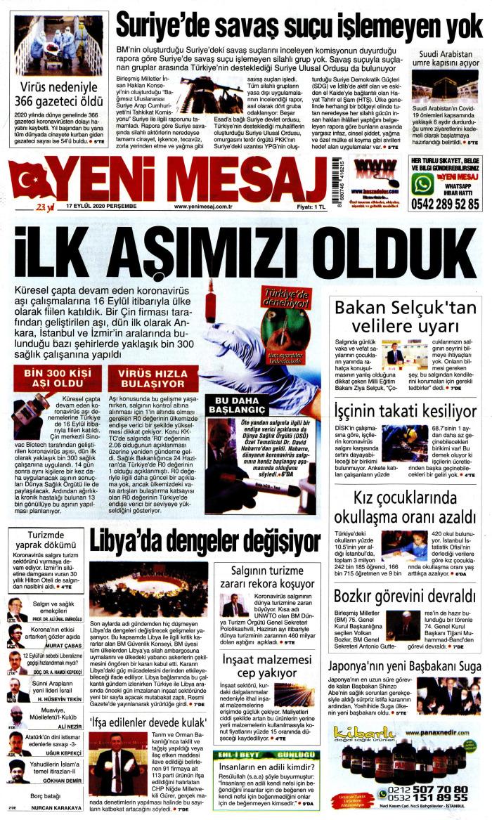 YENİ MESAJ Gazetesi 17 Eylül 2020, Perşembe Günü Manşeti