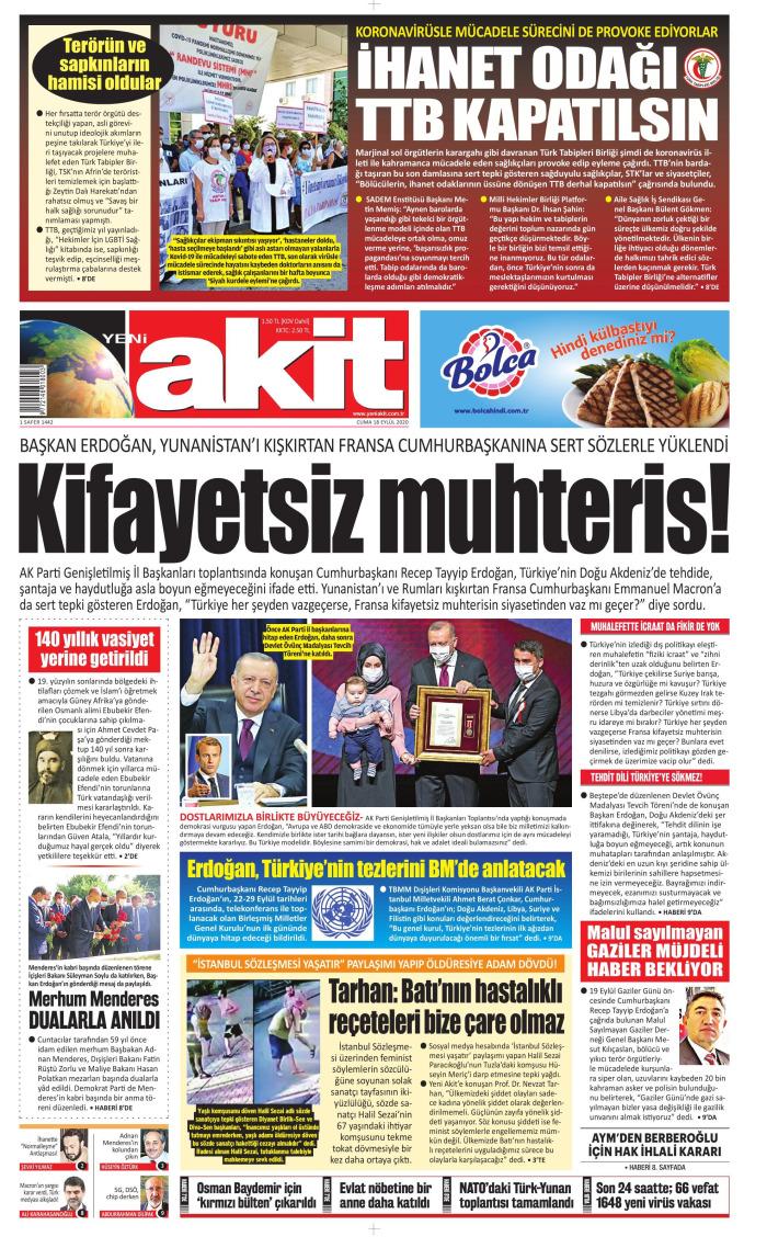 YENİ AKİT Gazetesi 18 Eylül 2020, Cuma Günü Manşeti
