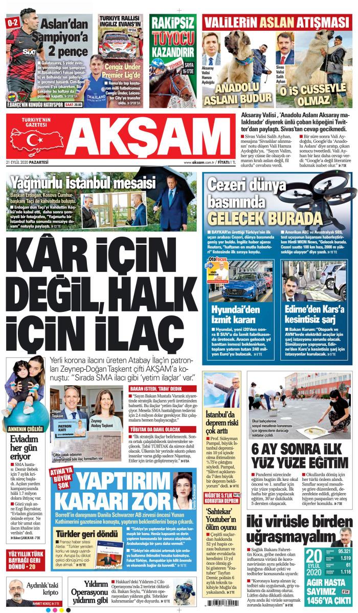 AKŞAM Gazetesi 21 Eylül 2020, Pazartesi Günü Manşeti