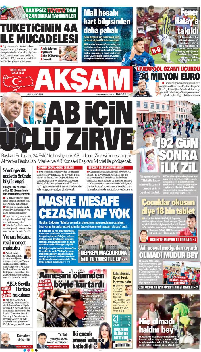 AKŞAM Gazetesi 22 Eylül 2020, Salı Günü Manşeti
