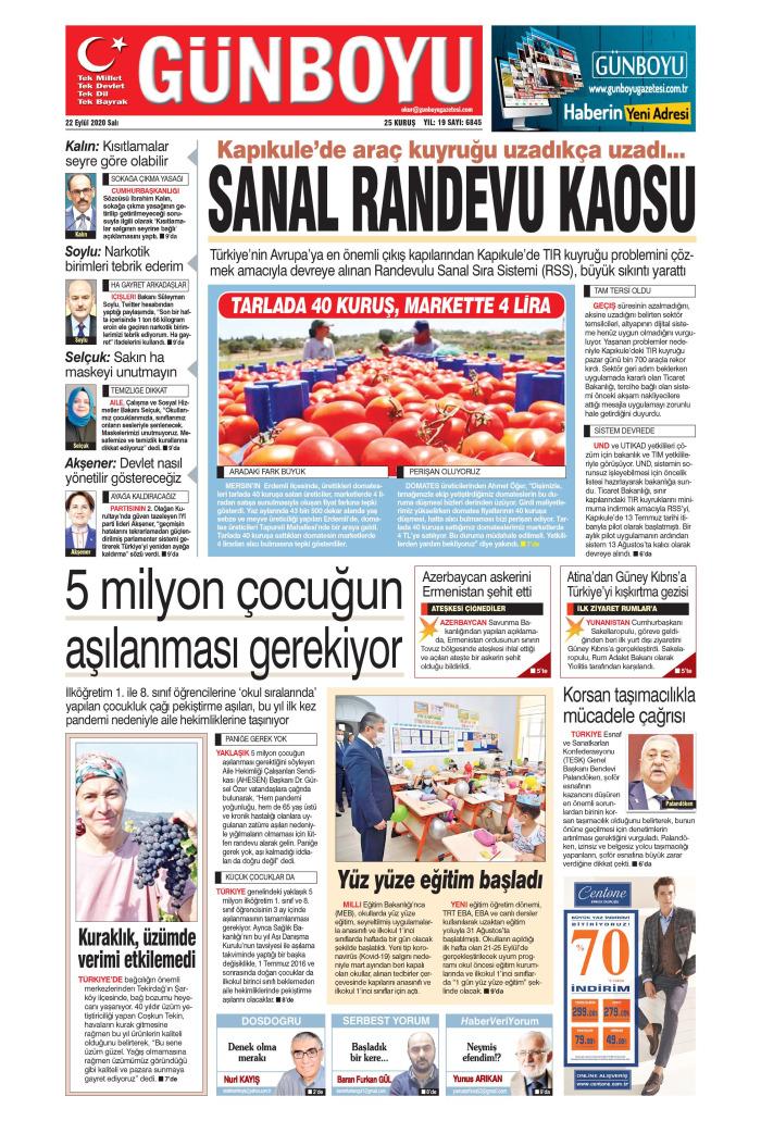 GÜNBOYU Gazetesi 22 Eylül 2020, Salı Günü Manşeti