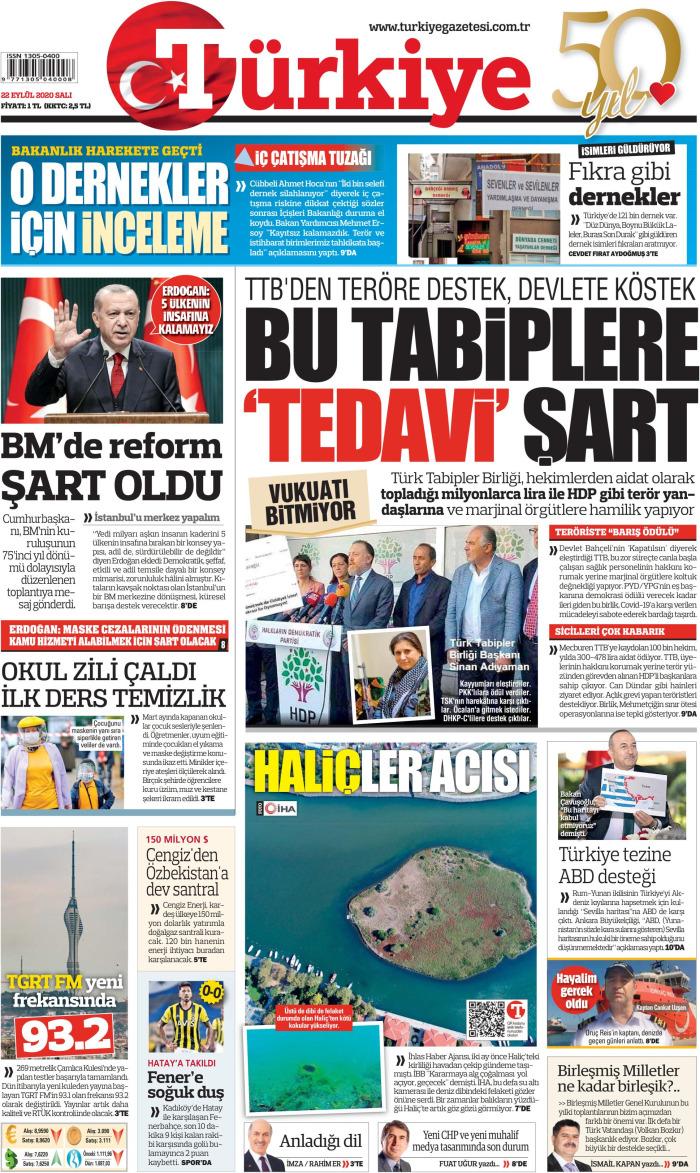 TURKEY News September 22, 2020 Tuesday Cuff