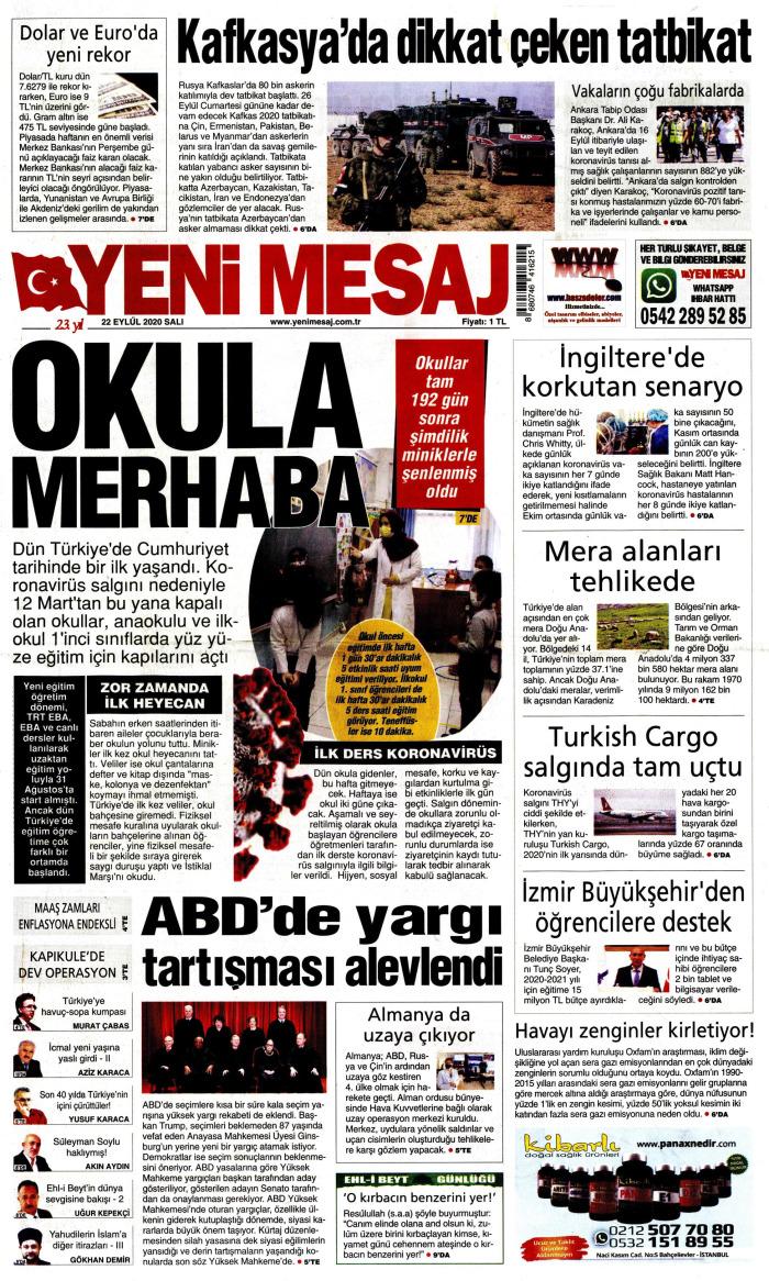 YENİ MESAJ Gazetesi 22 Eylül 2020, Salı Günü Manşeti