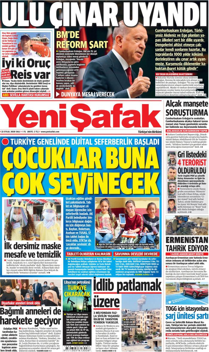 YENİ ŞAFAK Gazetesi 22 Eylül 2020, Salı Günü Manşeti
