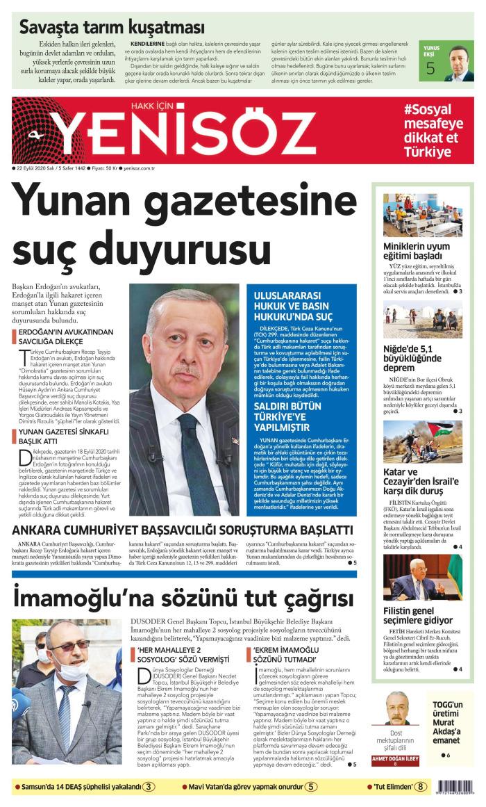YENİ SÖZ Gazetesi 22 Eylül 2020, Salı Günü Manşeti