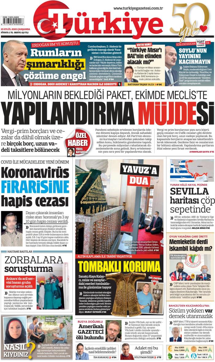 TURKEY News September 23, 2020 on Wednesday Cuff