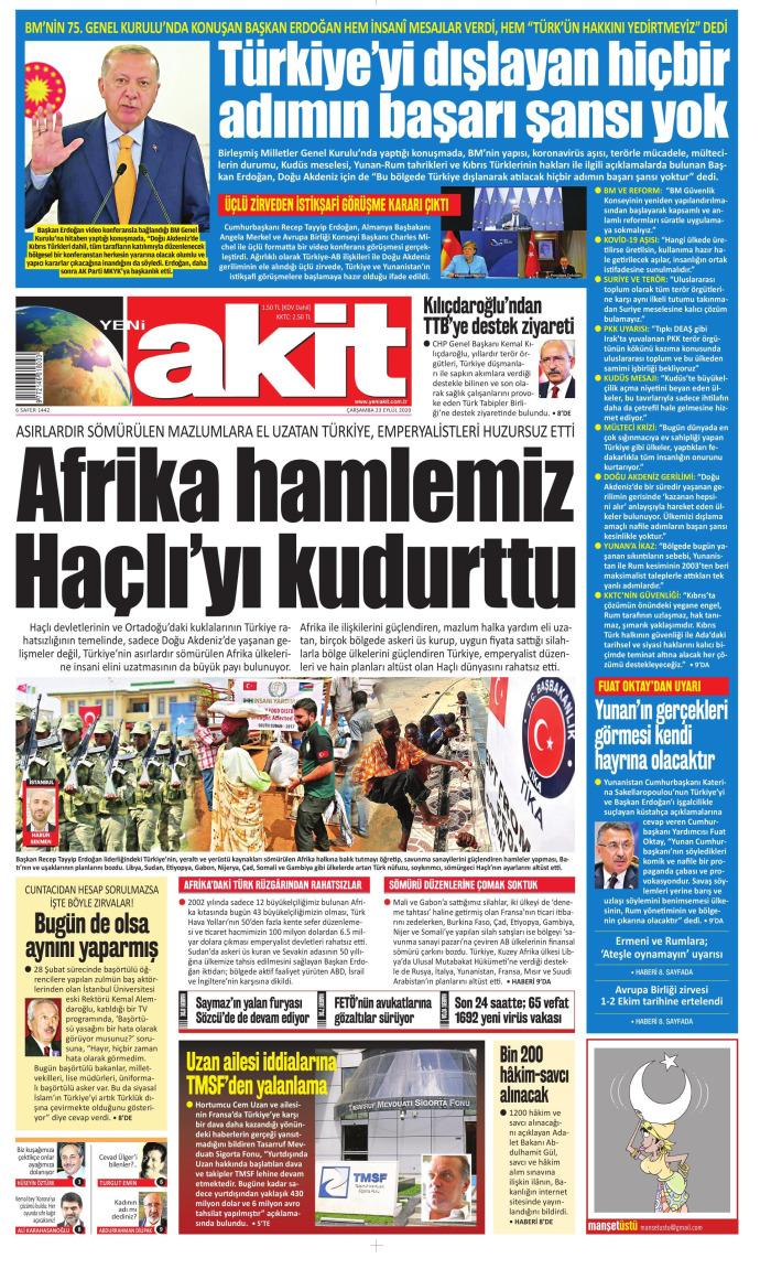 YENİ AKİT Newspaper Headline on Wednesday, September 23, 2020