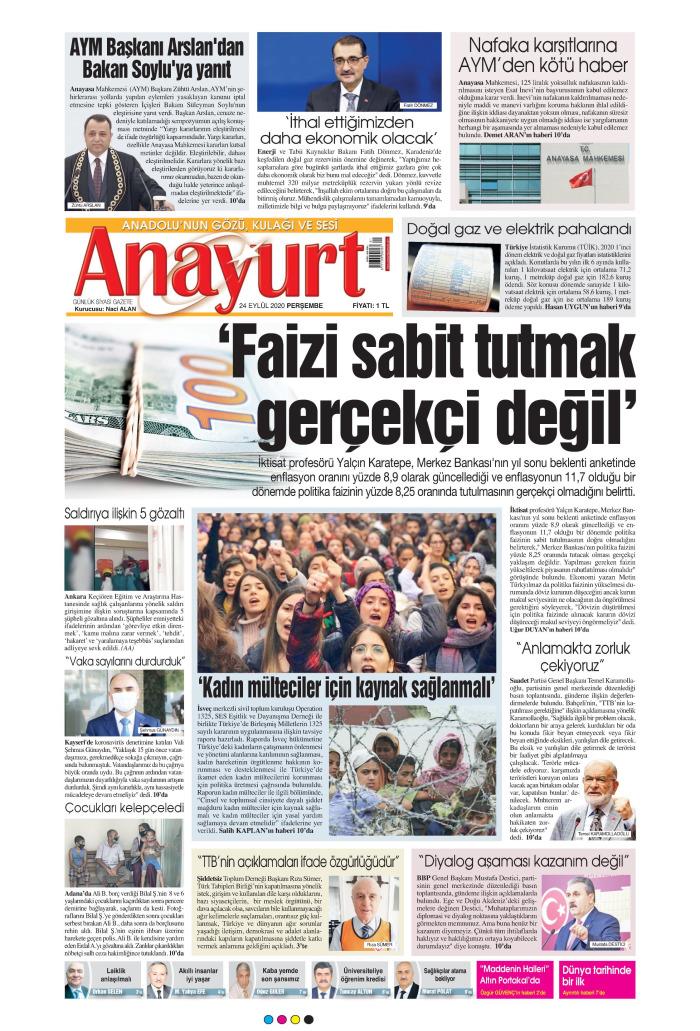 ANAYURT Gazetesi 24 Eylül 2020, Perşembe Günü Manşeti