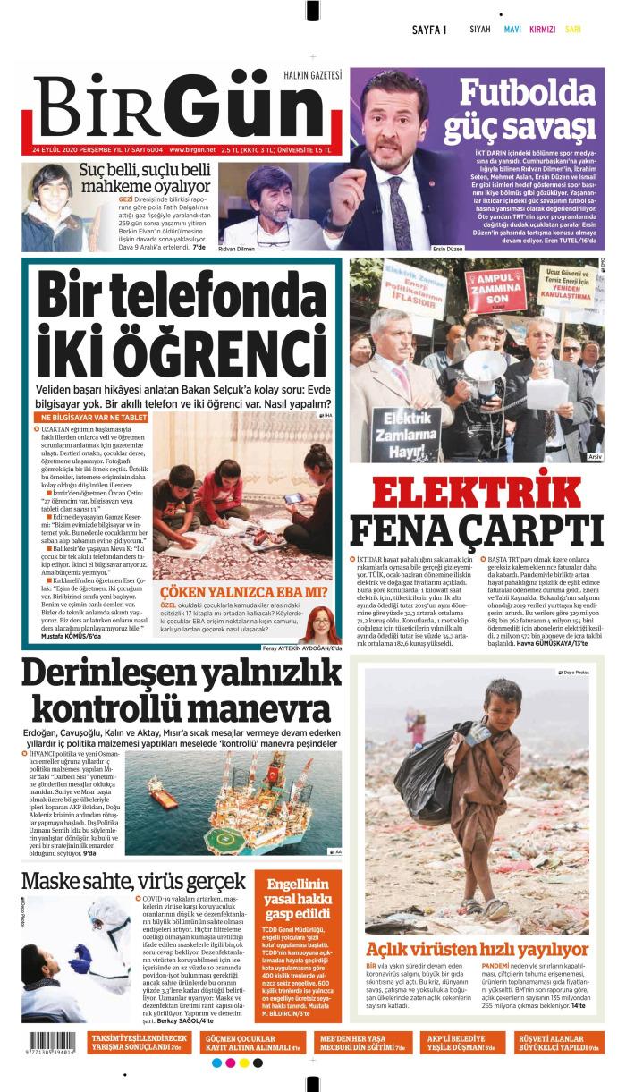 BİRGÜN Gazetesi 24 Eylül 2020, Perşembe Günü Manşeti
