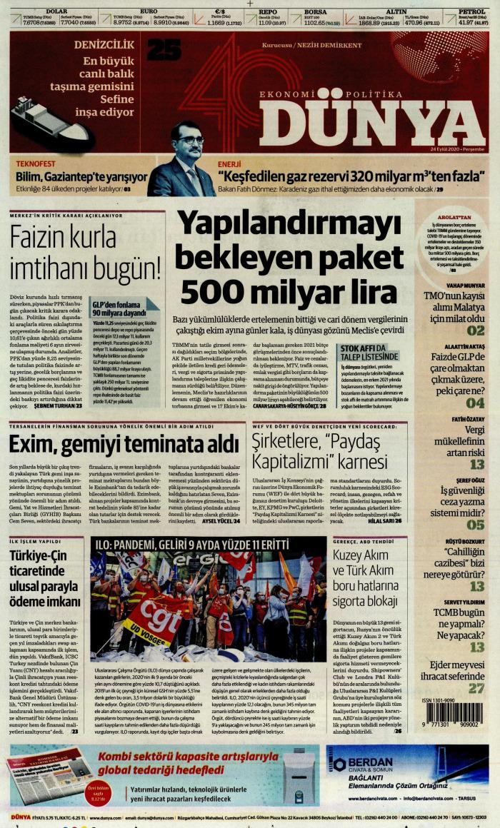 DÜNYA Gazetesi 24 Eylül 2020, Perşembe Günü Manşeti