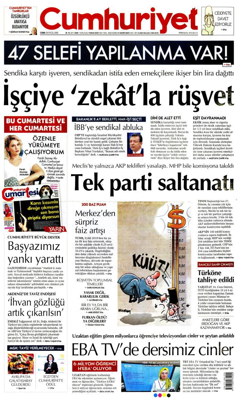 CUMHURİYET Gazetesi 25 Eylül 2020, Cuma Günü Manşeti