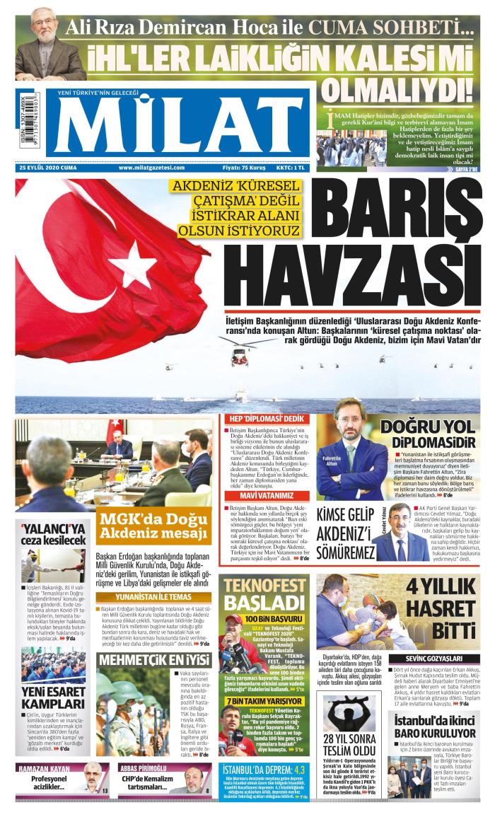 MİLAT Gazetesi 25 Eylül 2020, Cuma Günü Manşeti