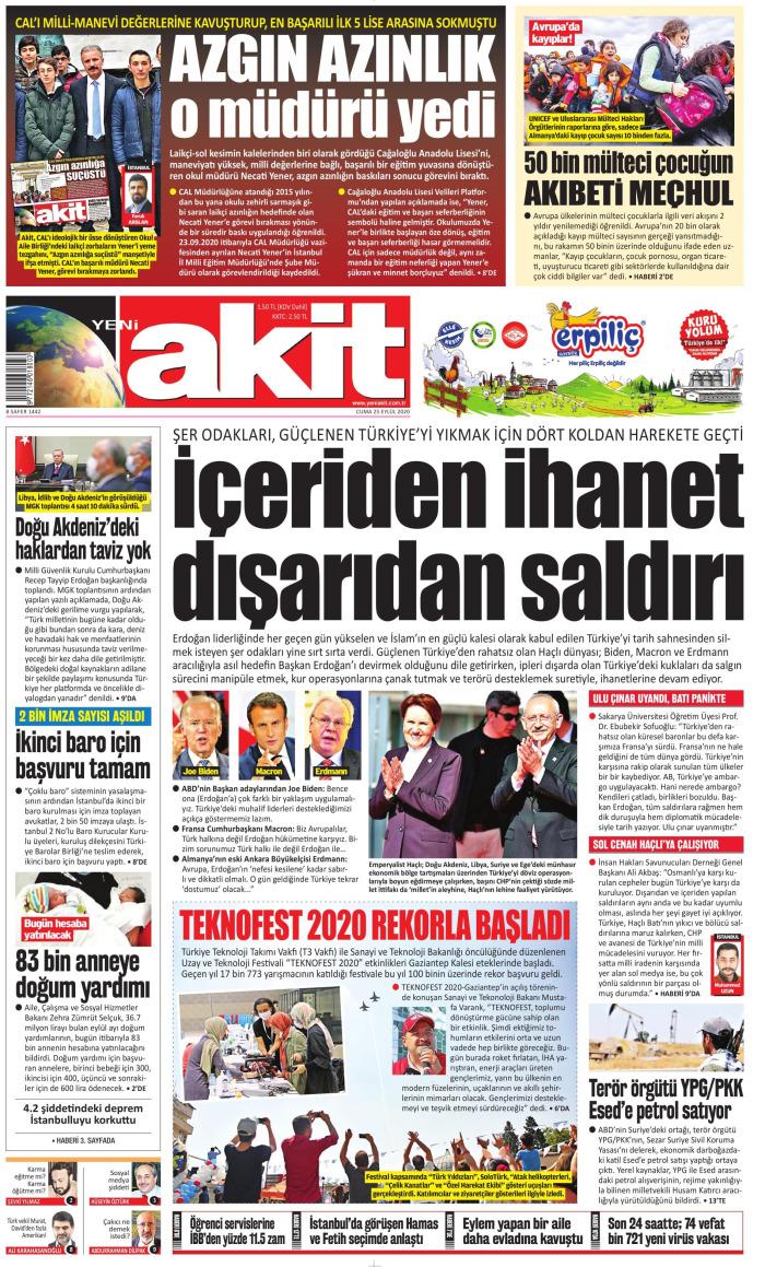 YENİ AKİT Gazetesi 25 Eylül 2020, Cuma Günü Manşeti
