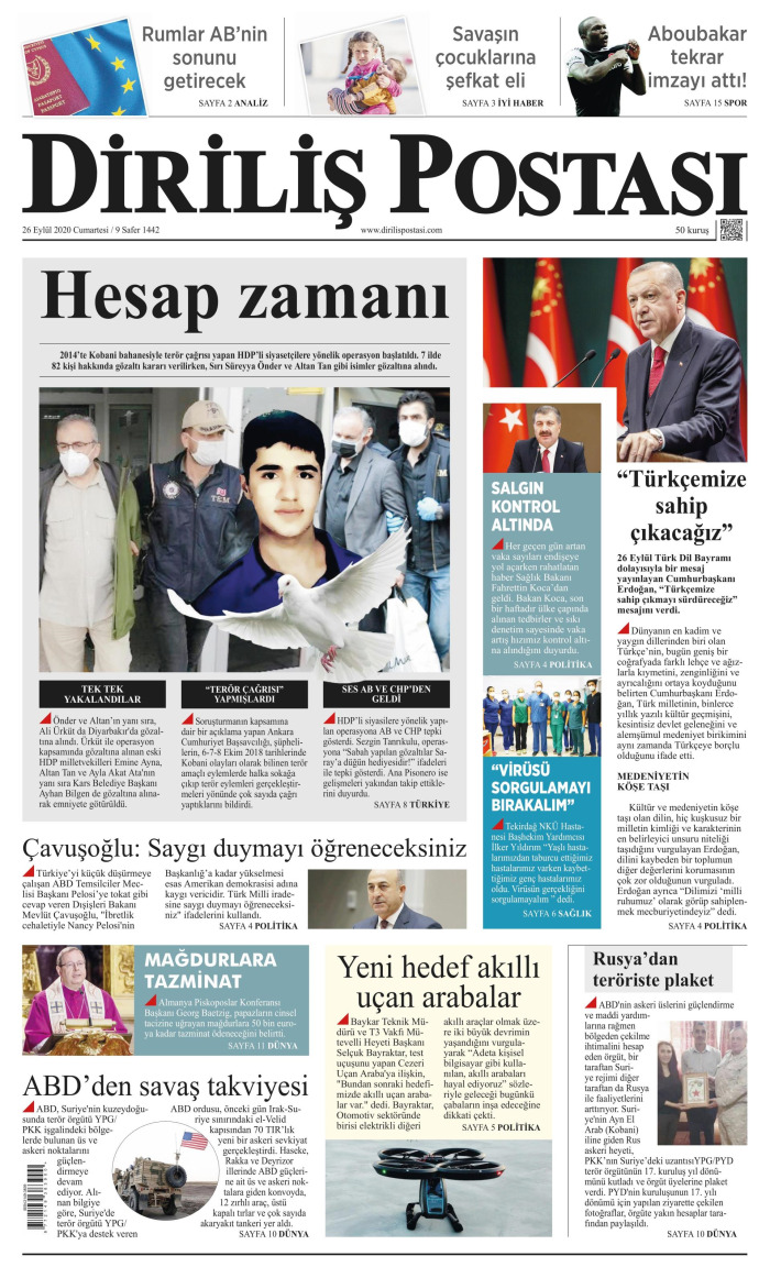 DİRİLİŞ POSTASI Gazetesi 26 Eylül 2020, Cumartesi Günü Manşeti