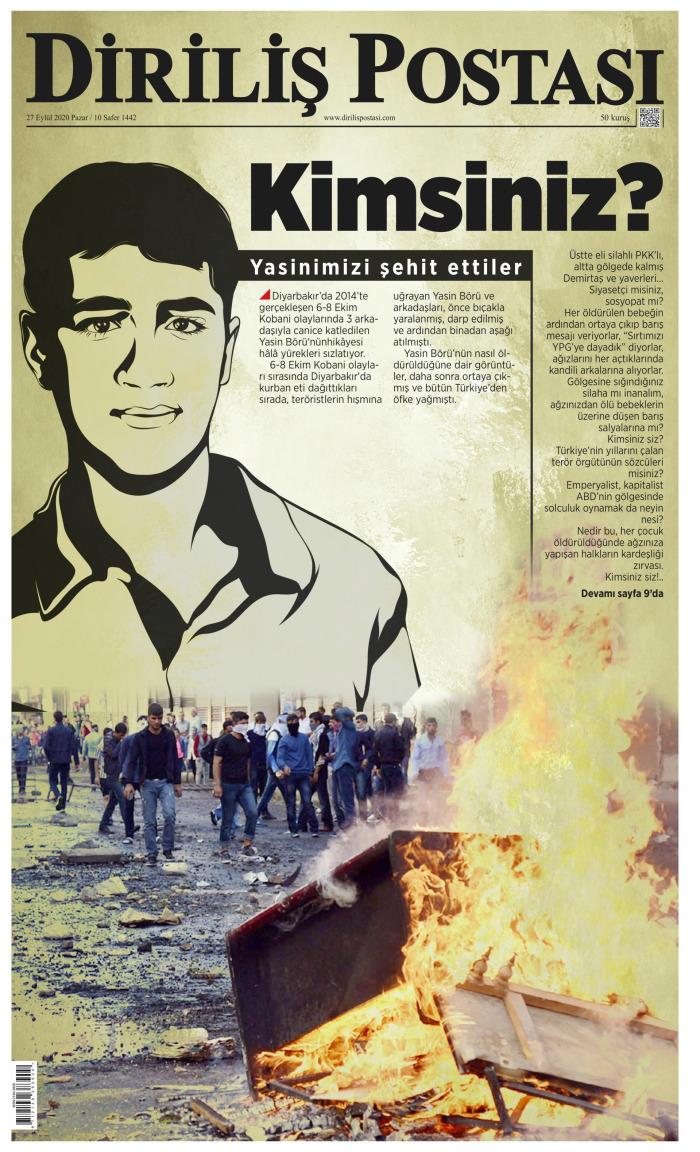 DİRİLİŞ POSTASI Gazetesi 27 Eylül 2020, Pazar Günü Manşeti